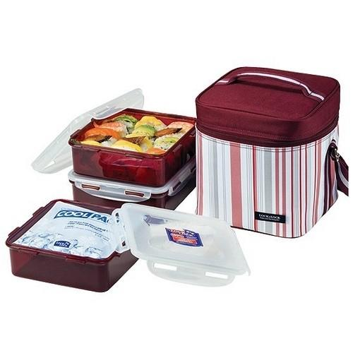 HPL856DP Lock&Lock Lunch Box 3P Set With Purple Stripe Bag, Cool Pack